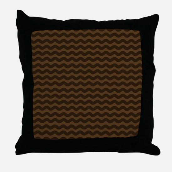 Chocolate Brown Wave Pattern Throw Pillow