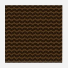 Chocolate Brown Wave Pattern Tile Coaster