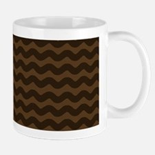 Chocolate Brown Wave Pattern Mugs