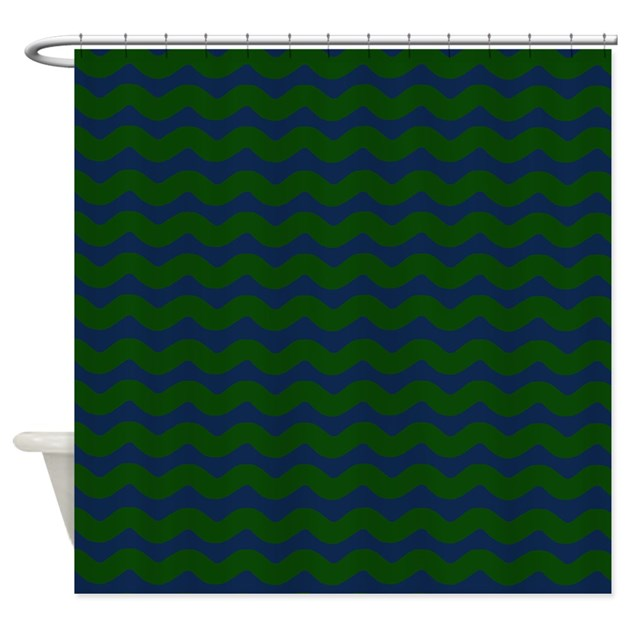 Dark Green And Blue Wavy Shower Curtain By PatternedShop