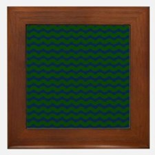 Dark Green and Blue Wavy Framed Tile