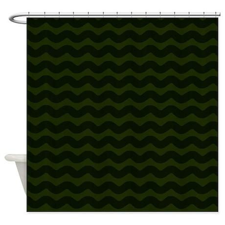 dark green chevron waves shower curtain