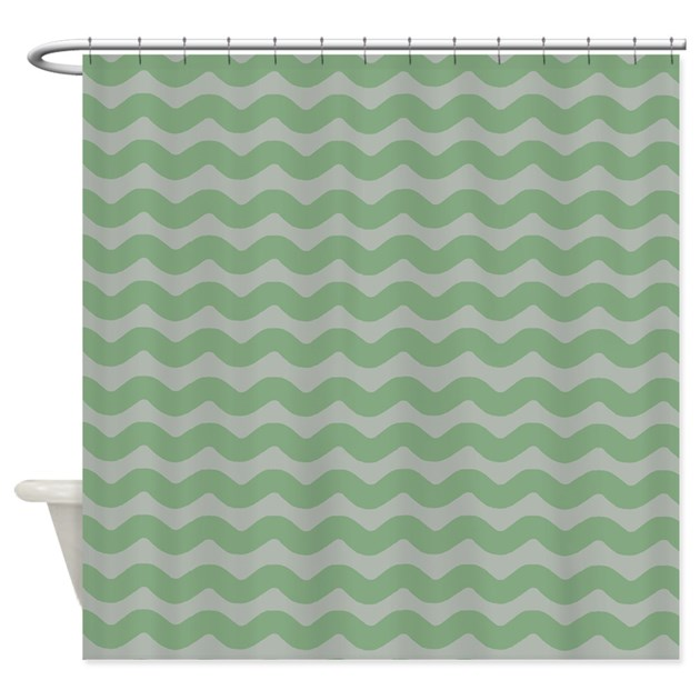 Green And Gray Wavy Lines Shower Curtain By PatternedShop