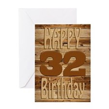 32nd Birthday A carved wooden card. Greeting Cards
