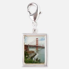 golden gate bridge south Silver Portrait Charm