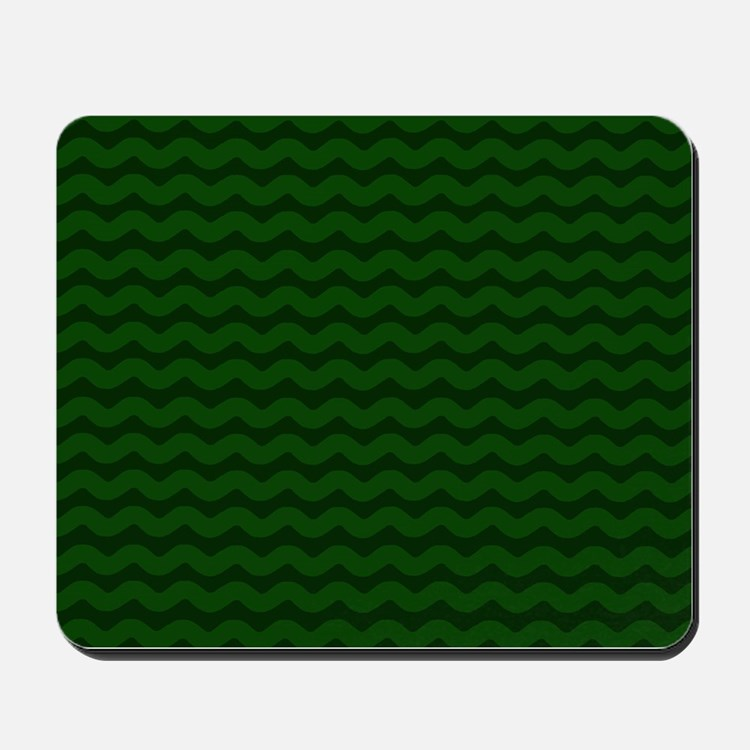 Forest Green Wavy Chevron Mousepad