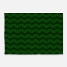 Forest Green Wavy Chevron 5'x7'Area Rug