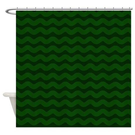 Forest green wavy chevron shower curtain by patternedshop - Forest green shower curtain ...