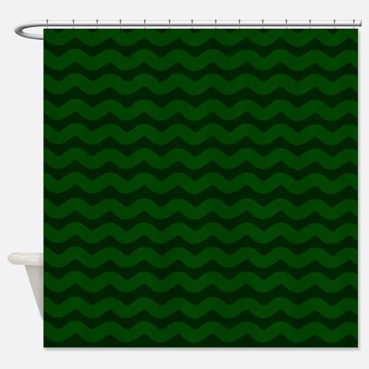 Dark Green Chevron Shower Curtains | Dark Green Chevron Fabric ...