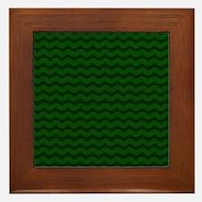 Forest Green Wavy Chevron Framed Tile