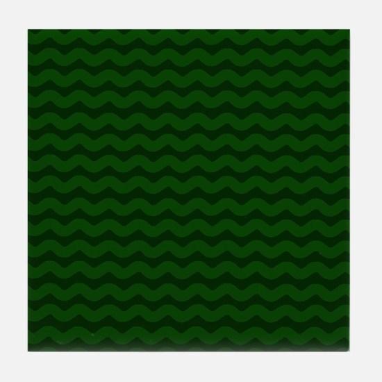 Forest Green Wavy Chevron Tile Coaster