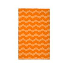 Orange Wavy Lines 3'x5' Area Rug