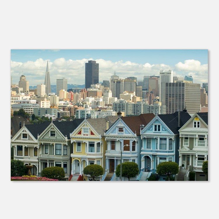 Alamo Square painted ladi Postcards (Package of 8)