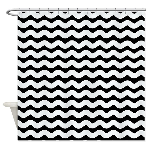 black and white wavy chevron shower curtain by patternedshop