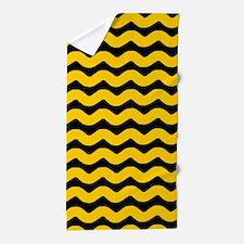 Yellow and Black Wavy Chevron Beach Towel