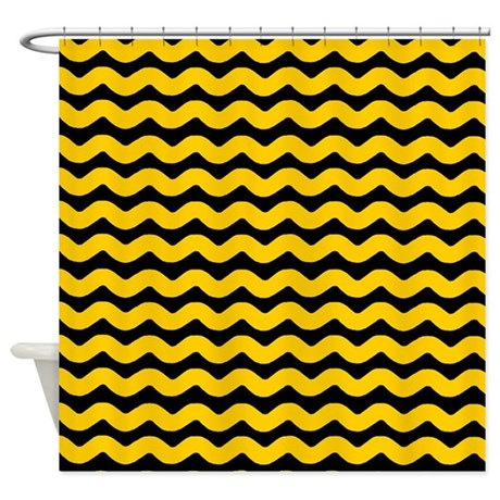 yellow and black wavy chevron shower curtain by patternedshop. Black Bedroom Furniture Sets. Home Design Ideas