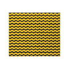 Yellow and Black Wavy Chevron Throw Blanket