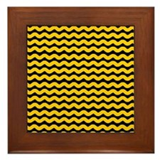Yellow and Black Wavy Chevron Framed Tile