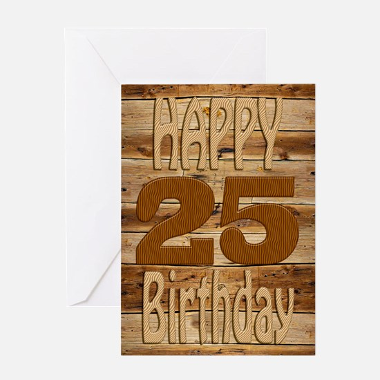 25th Birthday A carved wooden card. Greeting Cards