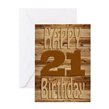 21st Birthday A carved wooden card. Greeting Cards