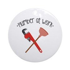 -Plumber at work- Ornament (Round)