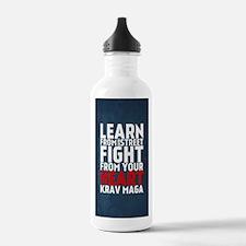 Learn from the street Krav Maga RED Water Bottle