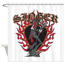 Skeleton Singer Shower Curtain