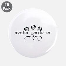 "Master Gardener Logo Garden Black White 3.5"" Butto"
