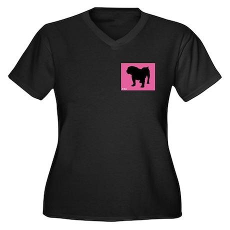 Bulldog iPet Women's Plus Size V-Neck Dark T-Shirt