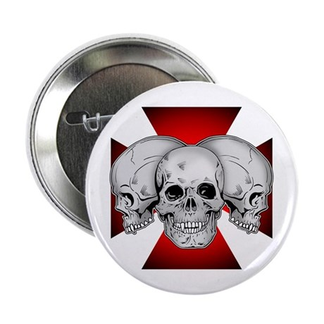 "Tri Skull Iron Cross 2.25"" Button (10 pack)"