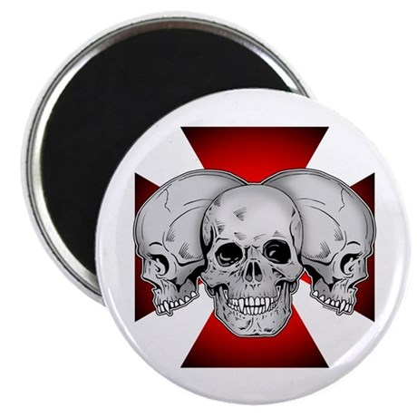 """Tri Skull Iron Cross 2.25"""" Magnet (100 pack)"""