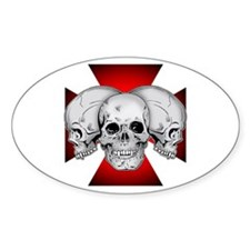 Tri Skull Iron Cross Decal