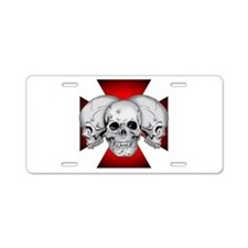 Tri Skull Iron Cross Aluminum License Plate