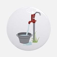Well Water Hand Pump Ornament (Round)
