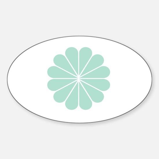 Divine Art Deco Style Mint Green Fl Sticker (Oval)