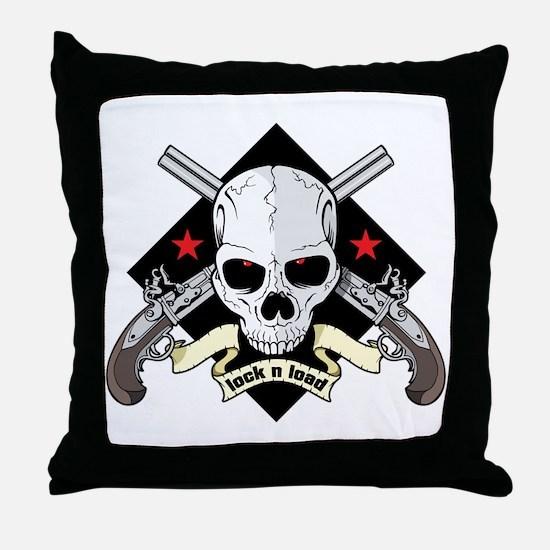 Lock and Load Skull and Guns Throw Pillow