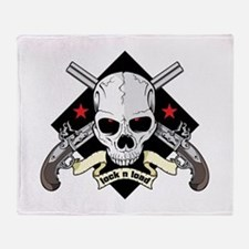 Lock and Load Skull and Guns Throw Blanket