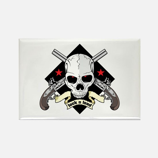 Lock and Load Skull and Guns Rectangle Magnet