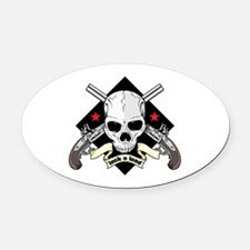 Lock and Load Skull and Guns Oval Car Magnet