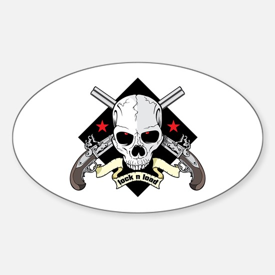 Lock and Load Skull and Guns Sticker (Oval)
