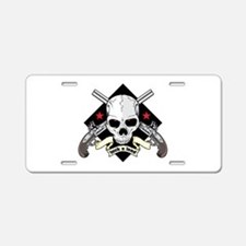 Lock and Load Skull and Gun Aluminum License Plate