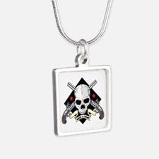 Lock and Load Skull and Gu Silver Square Necklace