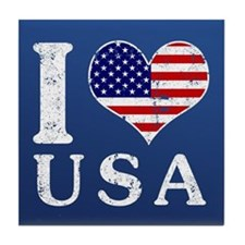 I LOVE USA Tile Coaster