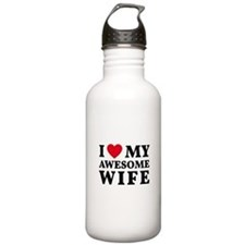 I love my awesome wife Water Bottle
