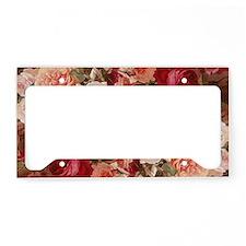 Floral Pink Roses License Plate Holder