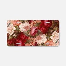 Floral Pink Roses Aluminum License Plate