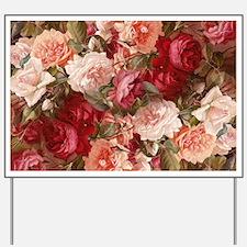 Floral Pink Roses Yard Sign