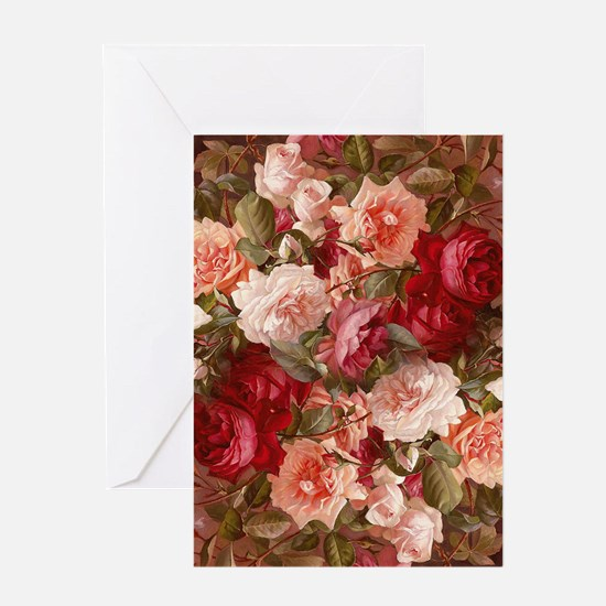 Floral Pink Roses Greeting Cards