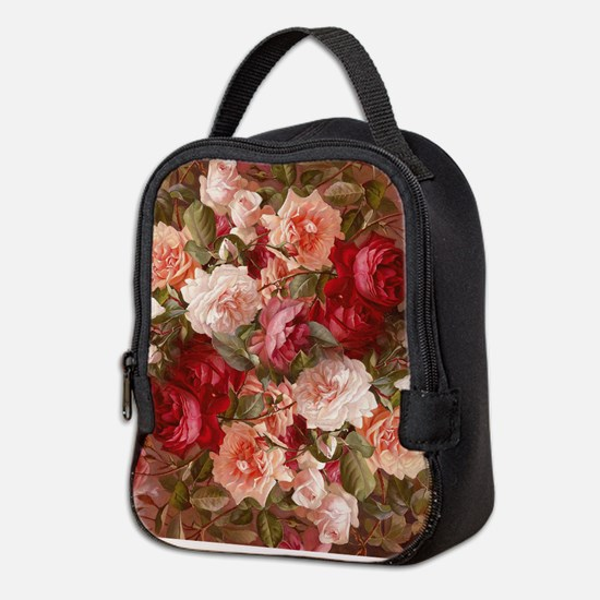 Floral Pink Roses Neoprene Lunch Bag