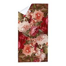 Floral Pink Roses Beach Towel